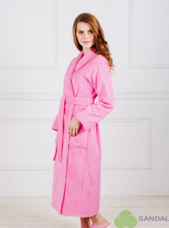 27e6ed93fa782 Купить халат -воротник шалька, удлиненный из велсофта ,цвет розовый ...